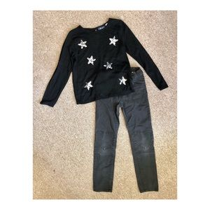 Kids 2 Piece Sequin Star Sweater & H&M Jeans
